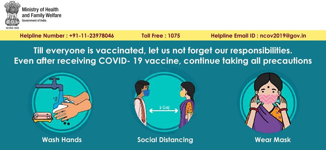 """This graphic is headlined """"Till everyone is vaccinated, let us not forget our responsibilities. Even after receiving COVID-19 vaccine, continue taking all precautions."""" Below the headline a series of three visuals with accompanying text list out the things that one should do – washing hands, social distancing, and wearing a mask. The graphic provides a helpline number +91-11-23978046, toll free number 1075, and helpline email ID: ncov2019@gov.in. The graphic carries the logo of the Ministry of Health & Family Welfare, Government of India. Additional text accompanying the graphic says: """"Keep yourself safe from COVID-19! Vaccination, washing hands, social distancing and masking up is the safety mantra. Click on the icon below to learn more about protecting yourself and others from coronavirus infection."""" A 'Learn More' icon takes you to the Ministry of Health & Family Welfare, Government of India website, which is the information source for the graphic."""