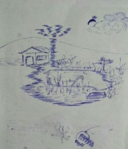 This photograph shows a rough sketch made by the author during his stay in the hospital. The sketch shows a dwelling in the countryside, with a palm tree next to it and a pond nearby with grass growing along its edges. A pathway runs from the door of the house to the pond. In the background, the outline of a hillock can be seen in the distance. The sky has a clump of a cloud, the crescent of a moon and a star, all quite close together. All around the sketch, there is some blank space. More random objects can be seen near the lower edge of the notebook page on which the sketch has been drawn with a blue ball point pen. The sketch is dated April 27, 2021, the date being camouflaged in the grass growing on the edges of the pond. Photo credit: Pawan Dhall