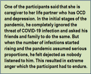 Quote: One of the participants said that she is caregiver to her life partner who has OCD and depression. In the initial stages of the pandemic, he completely ignored the threat of COVID-19 infection and asked his friends and family to do the same. But when the number of infections started rising and the pandemic assumed serious proportions, he felt dejected as nobody listened to him. This resulted in extreme anger which the participant had to endure.