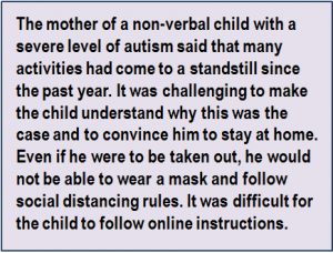 Quote: The mother of a non-verbal child with a severe level of autism said that many activities had come to a standstill since the past year. It was challenging to make the child understand why this was the case and to convince him to stay at home. Even if he were to be taken out, he would not be able to wear a mask and follow social distancing rules. It was difficult for the child to follow online instructions.