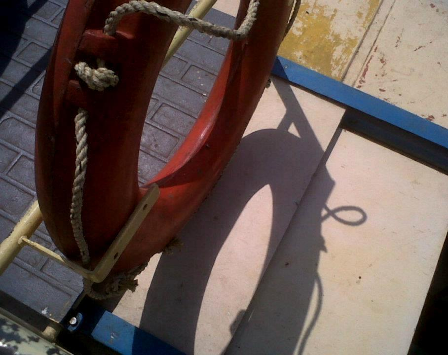 This lead photograph is a daytime medium shot of a life saving tube placed in a vertical position on the deck of a tourist launch. The deep orange coloured tube is slotted in place along an iron railing, for easy access if there is an emergency. The placement of the tube is such that it has cast a shadow of itself on the floor board below, and the tube and its shadow together appear to form the figure eight, which is the central theme of the accompanying article. Photo credit: Pawan Dhall