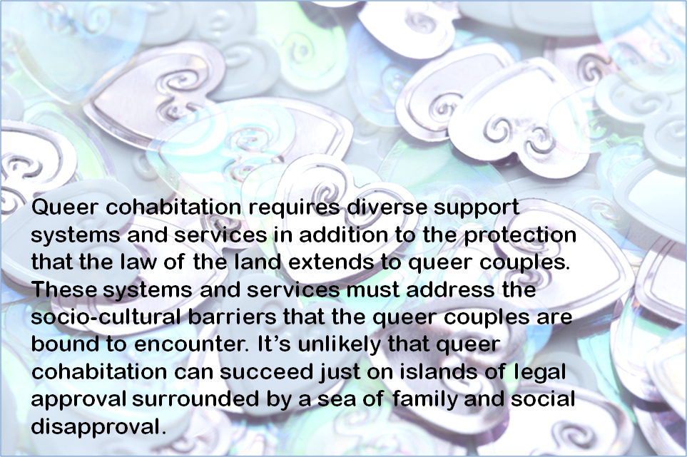 """This lead graphic has text that says: """"Queer cohabitation requires diverse support systems and services in addition to the protection that the law of the land extends to queer couples. These systems and services must address the socio-cultural barriers that the queer couples are bound to encounter. It's unlikely that queer cohabitation can succeed just on islands of legal approval surrounded by a sea of family and social disapproval."""" The text in black is superimposed on a background that shows a random spread of numerous heart shapes, some interlinked or coupled, others lying single and asunder, in different angles. The heart shapes are in a mix of steel grey, light blue and sea green colours, and form a striking backdrop to the text. Graphic credit: Pawan Dhall (graphic based on Clip Art by Microsoft Office)"""