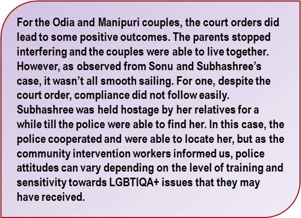 Quote: For the Odia and Manipuri couples, the court orders did lead to some positive outcomes. The parents stopped interfering and the couples were able to live together. However, as observed from Sonu and Subhashree's case, it wasn't all smooth sailing. For one, despite the court order, compliance did not follow easily. Subhashree was held hostage by her relatives for a while till the police were able to find her. In this case, the police cooperated and were able to locate her, but as the community intervention workers informed us, police attitudes can vary depending on the level of training and sensitivity towards LGBTIQA+ issues that they may have received.