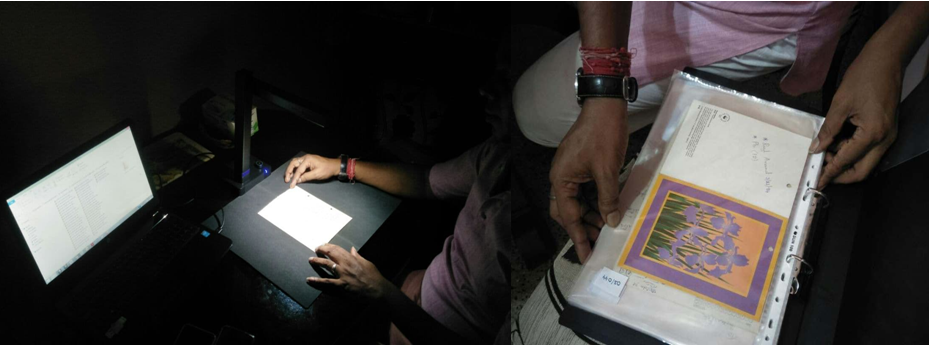 This illustration is a horizontal panel of two photographs. The first photograph on the left side shows a document being scanned in a darkened room by a high-speed digital imaging scanner. The document is placed flat on a black soft pad which itself is placed on a table and under the spotlight of the scanner's fill light. An individual's hands can be seen at two corners of the document, nudging it into place. The individual is seated to the right of the table. The lit-up screen of a laptop computer attached to the scanner can be seen to the left side of the document. The second photograph on the right side shows a document (a greeting card) being filed in a ring binder after being scanned. The document itself is placed inside a plastic sleeve. The hands of the individual filing the document can also be seen in the photograph. These documents are part of the archival material of Counsel Club, Kolkata, one of India's earliest queer support groups that functioned from 1993 to 2002. The Counsel Club Archives are maintained by Varta Trust, which has undertaken cataloguing and digitization of the archives. Photo credits: Pawan Dhall